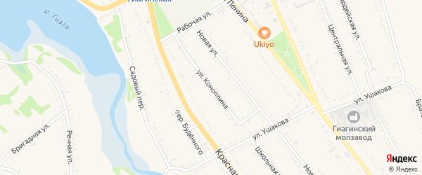 Улица Коноплина на карте Гиагинской станицы Адыгеи с номерами домов
