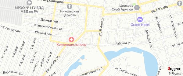 Переулок Седина на карте Майкопа с номерами домов