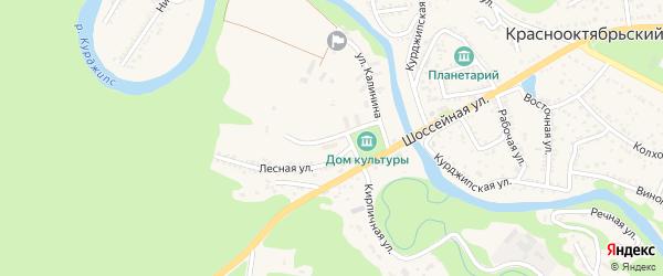 Подлесная улица на карте Краснооктябрьского поселка Адыгеи с номерами домов