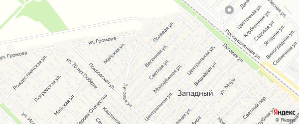 Весенняя улица на карте Западного поселка с номерами домов