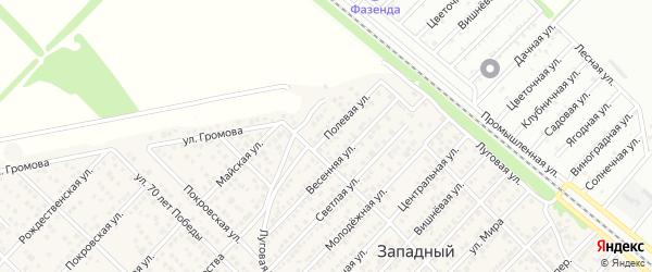 Полевая улица на карте Западного поселка с номерами домов