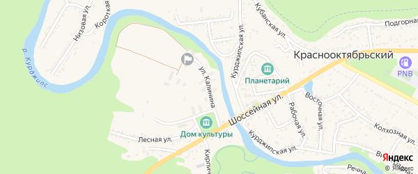 Улица Калинина на карте Краснооктябрьского поселка Адыгеи с номерами домов