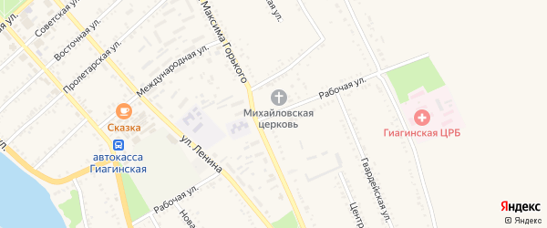 Рабочая улица на карте Гиагинской станицы Адыгеи с номерами домов