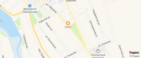 Улица Ленина на карте Гиагинской станицы Адыгеи с номерами домов