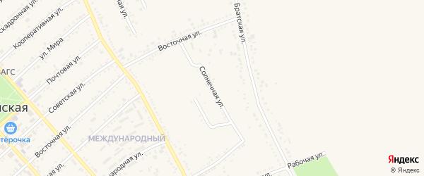 Солнечная улица на карте Гиагинской станицы Адыгеи с номерами домов
