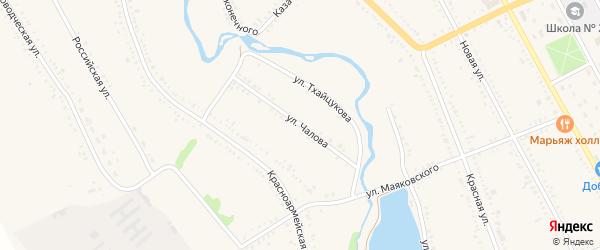 Улица Чалова на карте Гиагинской станицы Адыгеи с номерами домов