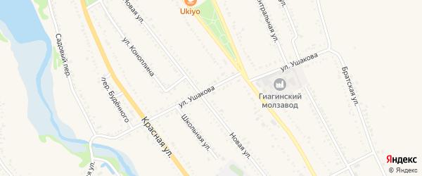Улица Ушакова на карте Гиагинской станицы Адыгеи с номерами домов