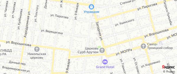 Улица Верещагина на карте Майкопа с номерами домов