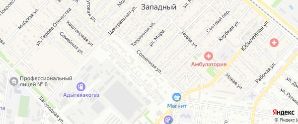 Солнечная улица на карте Западного поселка с номерами домов