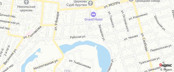Рабочая улица на карте Майкопа с номерами домов