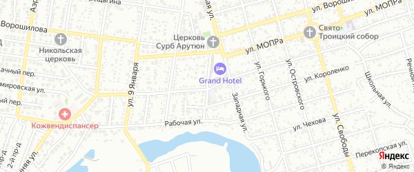 Большой переулок на карте Майкопа с номерами домов