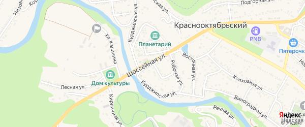 Курджипская улица на карте садового некоммерческого товарищества Юга Адыгеи с номерами домов