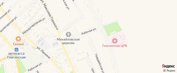 Гвардейская улица на карте Гиагинской станицы Адыгеи с номерами домов
