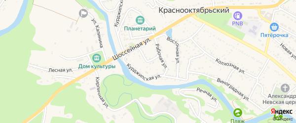 Рабочий переулок на карте Краснооктябрьского поселка Адыгеи с номерами домов