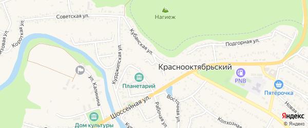 Тихий переулок на карте Краснооктябрьского поселка Адыгеи с номерами домов