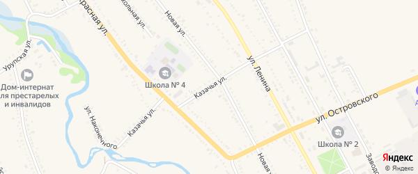 Казачья улица на карте Гиагинской станицы Адыгеи с номерами домов