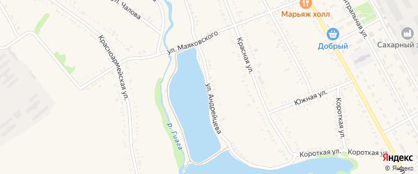 Улица Андрейцева на карте Гиагинской станицы Адыгеи с номерами домов