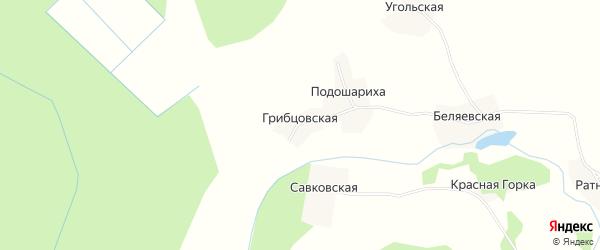 Карта Грибцовской деревни в Вологодской области с улицами и номерами домов