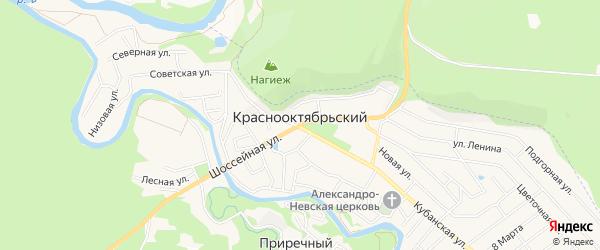 Карта Краснооктябрьского поселка в Адыгее с улицами и номерами домов