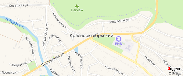 Улица имени Генриха Дерзияна на карте Краснооктябрьского поселка Адыгеи с номерами домов