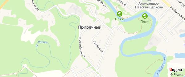 Южная улица на карте Приречного поселка Адыгеи с номерами домов