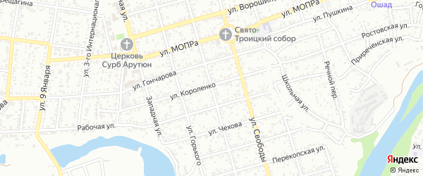 Улица Островского на карте Майкопа с номерами домов