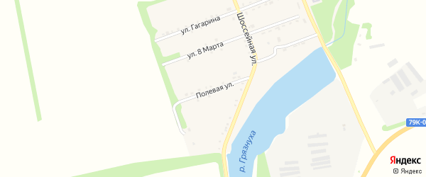 Полевая улица на карте поселка Зарево с номерами домов
