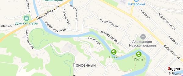 Речная улица на карте Приречного поселка Адыгеи с номерами домов