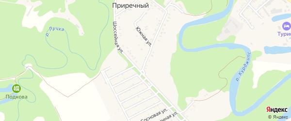 Молодежная 2-я улица на карте Приречного поселка Адыгеи с номерами домов