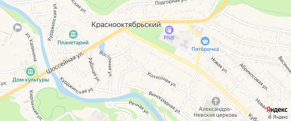 Колхозная улица на карте Краснооктябрьского поселка Адыгеи с номерами домов
