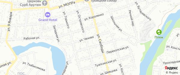 Улица Чехова на карте Майкопа с номерами домов