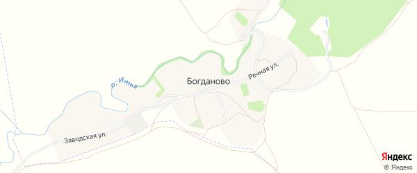 Карта деревни Богданово в Рязанской области с улицами и номерами домов