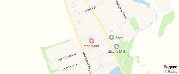 Больничная улица на карте поселка Зарево Адыгеи с номерами домов