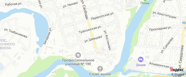 Улица Шевцова на карте Майкопа с номерами домов