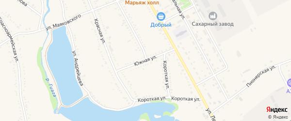 Южная улица на карте Гиагинской станицы Адыгеи с номерами домов