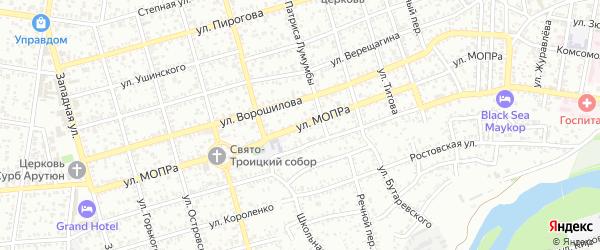 Улица МОПРа на карте Майкопа с номерами домов