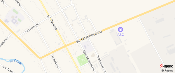 Улица Островского на карте Гиагинской станицы Адыгеи с номерами домов