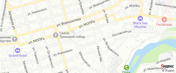 Обрывной переулок на карте Гавердовского хутора с номерами домов