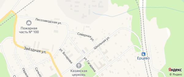 Северная улица на карте поселка Ерцево с номерами домов