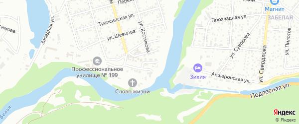 Инкубаторный переулок на карте Майкопа с номерами домов