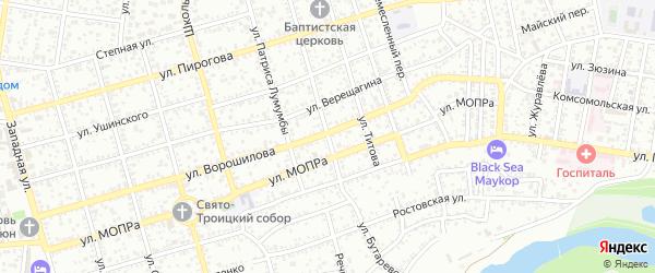Улица Бутаревского на карте Майкопа с номерами домов