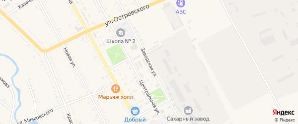 Заводская улица на карте Гиагинской станицы Адыгеи с номерами домов