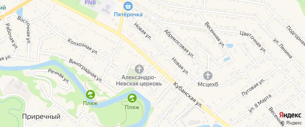 Кубанская улица на карте Краснооктябрьского поселка Адыгеи с номерами домов