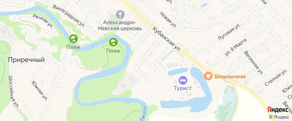 Прямая улица на карте Краснооктябрьского поселка Адыгеи с номерами домов