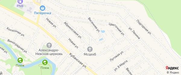 Абрикосовый переулок на карте Краснооктябрьского поселка Адыгеи с номерами домов