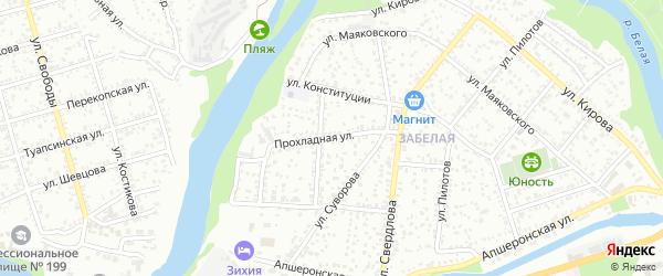 Прохладная улица на карте Майкопа с номерами домов