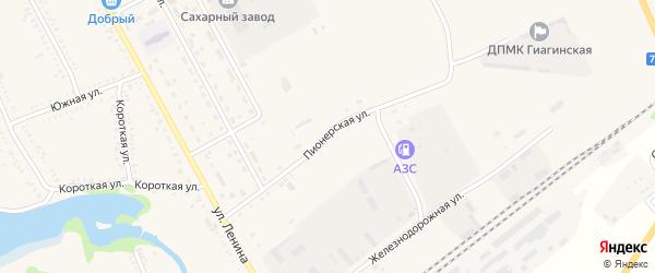Пионерская улица на карте Гиагинской станицы Адыгеи с номерами домов