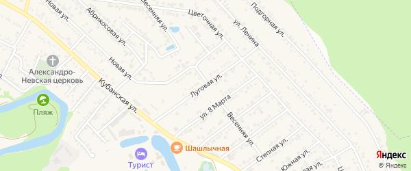 Луговая улица на карте садового некоммерческого товарищества Нефтяника Адыгеи с номерами домов