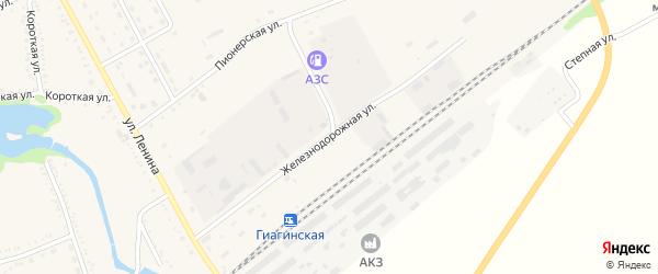 Железнодорожная улица на карте Гиагинской станицы Адыгеи с номерами домов