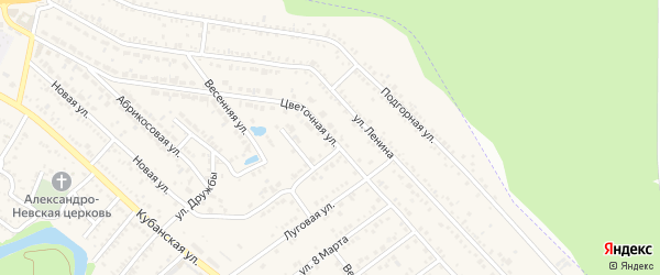 Цветочная улица на карте Краснооктябрьского поселка Адыгеи с номерами домов